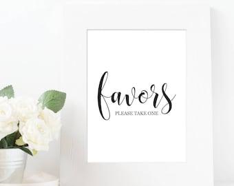 Wedding Favors Sign - Wedding Favor Sign, Wedding Printables, Bridal Shower Favors, Wedding Reception Sign, Party Favors, Wedding Prints