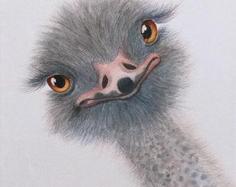 Silly Ostrich Original watercolor painting