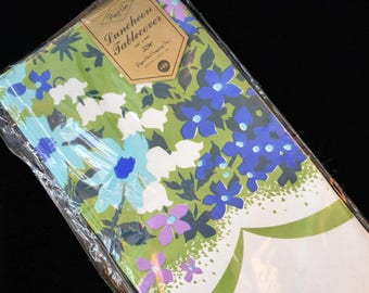 Vintage '70s Retro Floral Paper Tablecloth Luncheon Tablecover Funky Blue Green Purple Flower Power Paper Art Co 48x48
