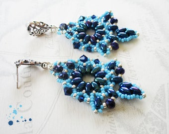 Beaded earrings, super-duos and midnight blue and turquoise donuts