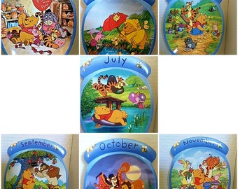 Winnie the Pooh, the whole year through full color decorative detail painted plates and numbered Feb Apr May  July Sept Oct Nov