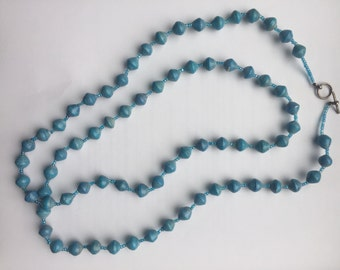 Blue Paper Bead Necklace / Paper Bead Jewelry