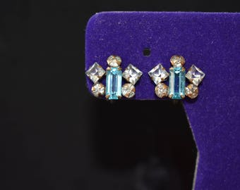 Earrings 12K Gold Filled Signed by Phyllis Blue Baguette Rhinestones Surrounded by Clear Round and Baguette Rhinestones Vintage