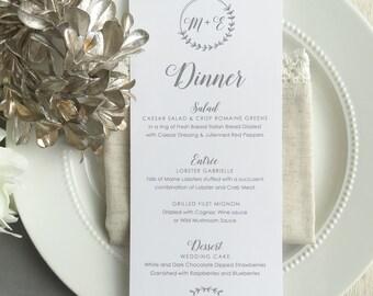 Wedding Menu   reception menu   dinner menu   table menu   - Style 21 - Laurel BRANCHES COLLECTION