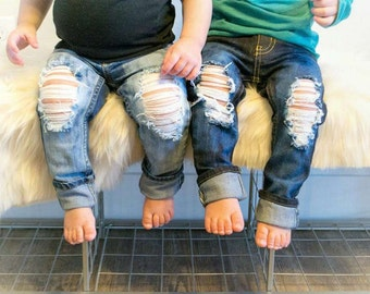 Signature skinny- boy&girl/toddler baby/ little boy/ little girl- hand distressed jeans/sizes 0-3M-14 kids