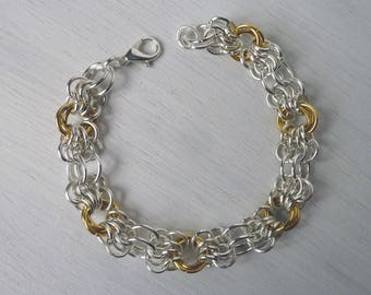 Butterfly weave chainmaille bracelet, two tone gold and silver plated, gender free bracelet, chainmaille jewellery, punk style bracelet