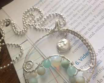 Moon over Moonstone Wave necklace