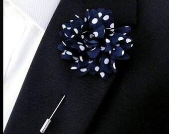 Polka Dots Navy Lapel Flower