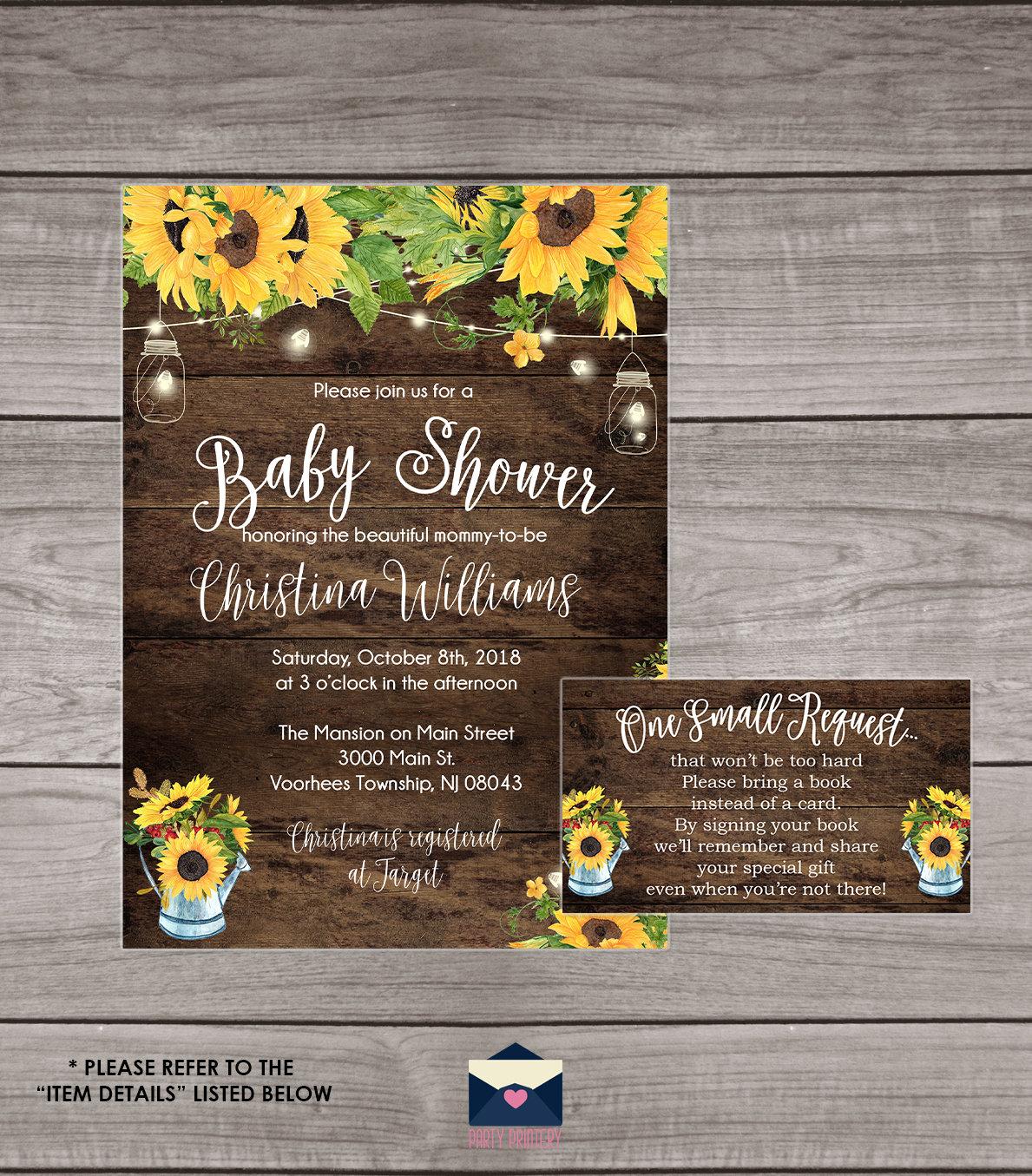 Rustic Sunflower Baby Shower Invitation Sunflower Baby