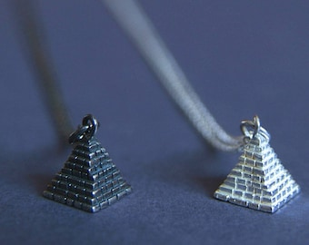 Pyramid Necklace   Silver Charm Pendant   Ancient Egyptian Pyramid Jewellery   Handmade in Sterling Silver   UK Shop