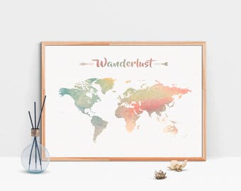 Watercolor map of the world printable large world map wanderlust wall art world map print watercolor world map large world map printable gumiabroncs Gallery