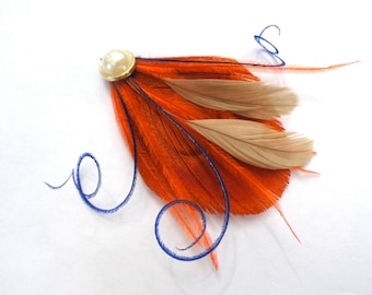 CIRQUE Orange Spice, Ivory, and Navy Blue Peacock Mini Feather Hair Clip with Crystal, Feather Fascinator