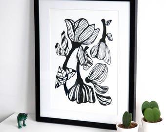 Floral Screen Print   Screen Printed, Botanical Minimalist Screen Print   Wall Decor   Wall Print   Hand Screen Printed