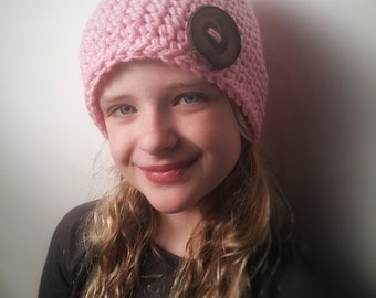 Kids Bubble Gum Pink Eco Button Hat ***READY TO SHIP***