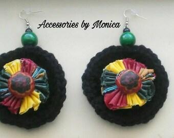 Crochet & fabric earrings