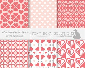 Pink Hearts Patterns Pack: Digital Papers, set of 6; Dark and Light Pink
