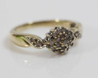 9ct Gold Engagement Ring Diamond Ladies Cluster Ring  Size UK N 1/2    US 7  0.25ct Missing One Stone