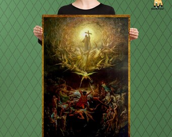 Medieval Inspired Artwork, The Triumph of Heaven, Dore, The Final Garden, Custom Raised Canvas Art Piece