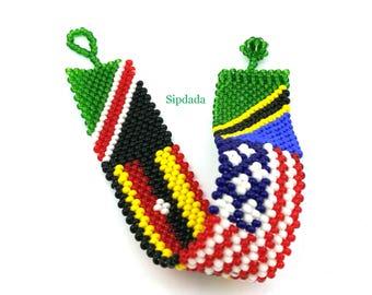 African bracelet, Beaded bracelet, East African flag colors plus US