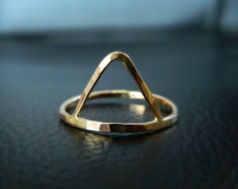 Triangle Ring, Geometric Ring, Gold Triangle Ring, Stackable Ring, Stacked Ring, Gold Trinity Ring