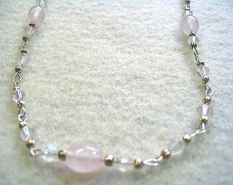 Pink Necklace, Rose Quartz Jewelry, Crystal Bead Necklace, Pink Stone Jewelry, Handmade Beaded Jewelry