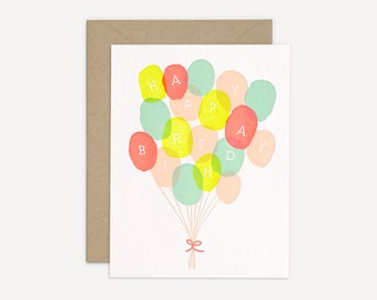 Happy Birthday Letterpress Card // Neon Birthday Balloons