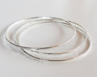 Sterling silver bangle bracelets set of 3, 925 sterling silver, 2mm silver bangle bracelets, hammered silver bracelet,silver bangles