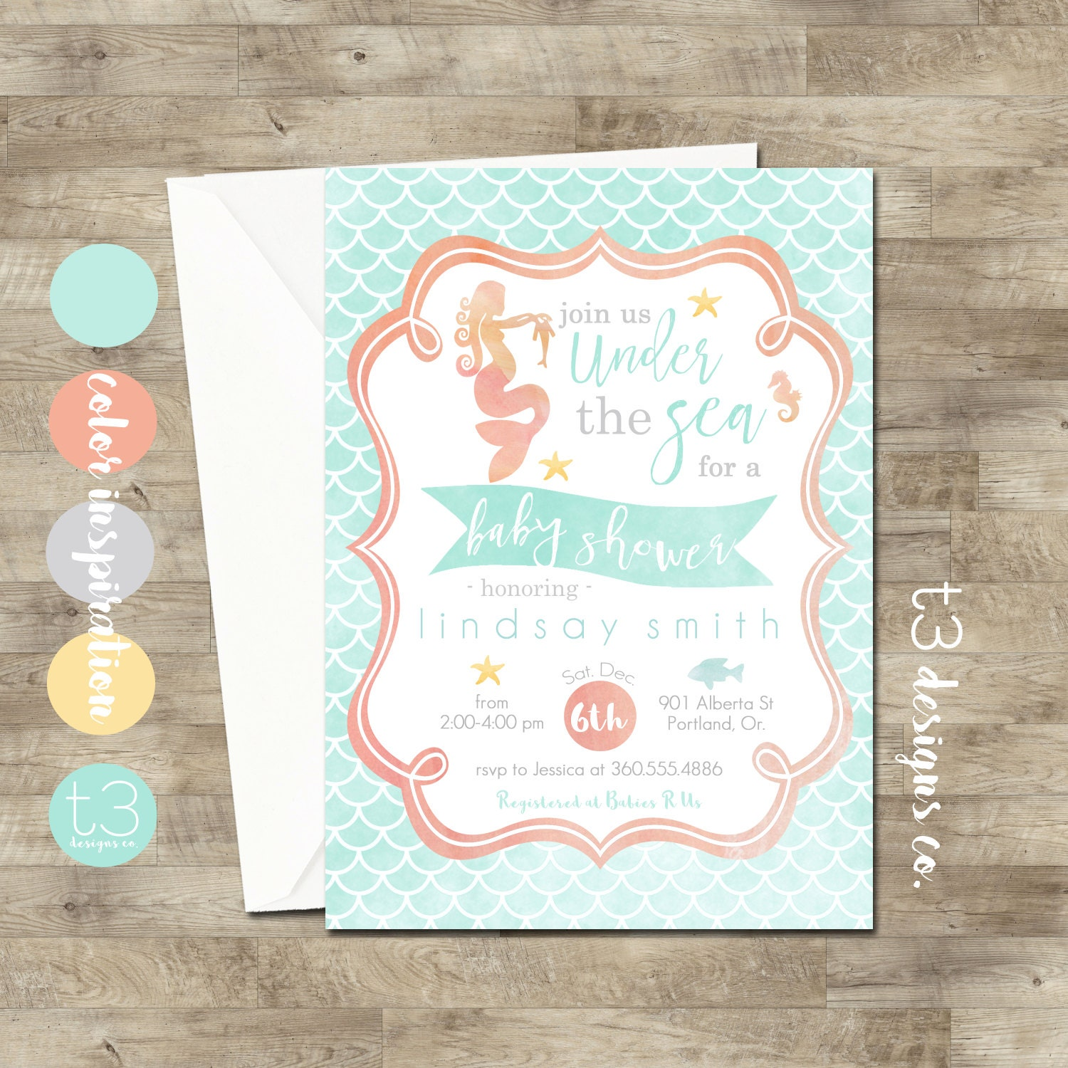 Ocean Baby Shower Invitations Sea and Ocean Theme Baby Shower ...
