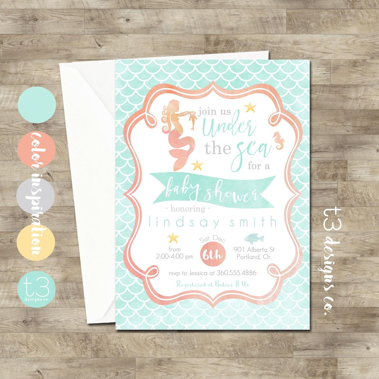 Mermaid Baby Shower Invitations • Mermaid Invitation • Baby Shower ...