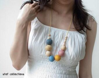 Felt Balls Necklace. Pastel Necklace. Wooden Bead Necklace. Sweet Necklace. Chunky Necklace. Large Bead Necklace.