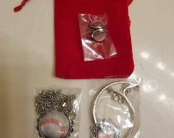 Baseball Necklace, Bracelet and Earring Set