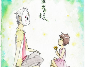 Hotarubi no Mori e movie fanart watercolor print from an original painting 7.5 in. x 7 in.