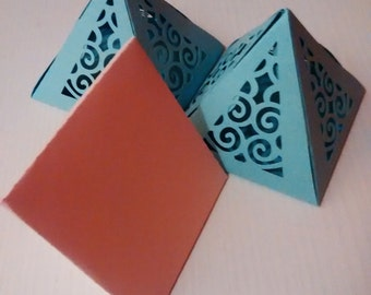 7 die cut pyramid boxes for baptism, marriage and. ..