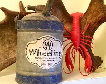Kerosene Tin Can, Rustic Farm Find, Primitive Industrial Wheeling