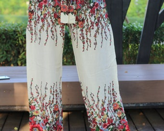 Womens Wide Leg Palazzo Pants Boho Clothing Bohochic GypsyStyle Flowers in White Trousers