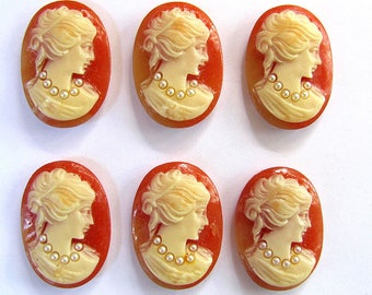 6 Carnelian Oval Resin, Victorian Lady Wearing Pearl Necklaces Cameos, 25X18m, Made in Japan