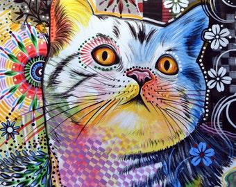 "Cat kitty art prnt  ... Abstract cat Art ... Chloe, 8 1/2"" x 11"" Print of cat painting"