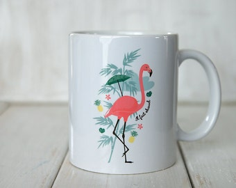 the Rose and pineapple Flamingo Mug