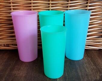 Four Pretty Pastel Tupperware Beakers 1960's Vintage