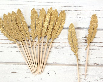 Gold Glitter feather Cupcake Toppers - Set of 12
