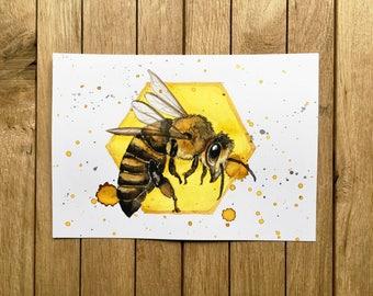 Honey Bee, Original Watercolor Illustration, A5 size