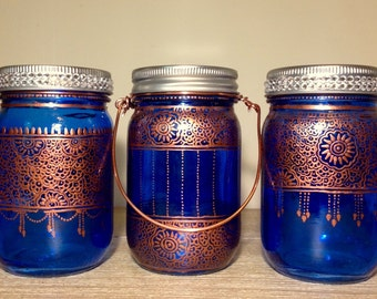 Trio of Blue bohemian henna lantern/wedding vase/patio lights/votive holder/mason jar