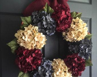 Patriotic Wreath   Americana Decor   4th of July Wreath   Red, White, & Blue Wreath   Summer Wreath   Front Door Wreaths   Hydrangea Wreath