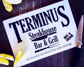 Terminus, Bar & Grill, The Walking Dead, Walking Dead Gift, Walking Dead Art, TWD, Surglface Saver, Glass Chopping Board