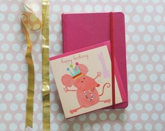 Girls 1st Birthday Card | age card | number card | happy birthday | birthday party | blank inside| age one | girls card