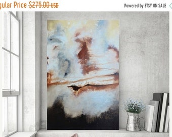 Spring Sale Stretched Painting on Canvas Abstract Painting Minimalist Rustic and Distressed Painting Original Painting Brown 36x24 by Heathe