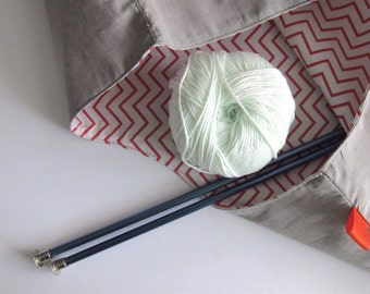 Yarn bags, knitting bags and matching case - Set of 3 - Grey-beige & orange white chevron