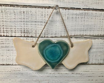 Heart with Wings wall art - ornament - melted glass- ceramic- wall hanging- memorial- angel- Holiday ornament- decoration-  love- wings