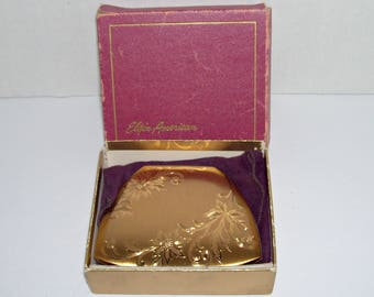 Vintage Elgin American Compact Gold Tone Flowers Trapezoid Shape