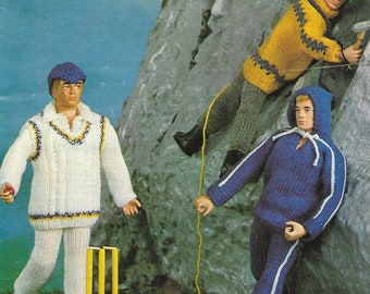 Instant PDF Digital Download Knitting Pattern, Action Man Outfits, 4 Ply Yarn, Robin 2715 1970's Vintage, Printable
